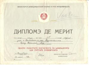 Prima diploma merit cl.1